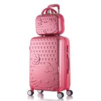 买大送小旅行箱子母箱行李箱万向轮拉杆箱22寸24寸密码20寸登机箱SN8428 玫红色 买大送小
