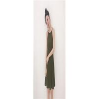 复古港味chic吊带连衣裙女气质新款韩版显瘦无袖打底背心裙子