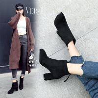ZHR2019秋冬季韩版小短靴粗跟单靴尖头复古女靴百搭学生靴子