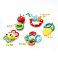 宝宝牙胶手摇铃 婴儿放心煮可高温5只组合玩具套装 抖音