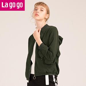 Lagogo2018春季新款直筒长袖纯色短外套女百搭荷叶边情侣装棒球服