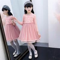 儿童秋冬新款连衣裙韩版长袖公主裙中大童蕾丝毛衣裙女童洋气裙子