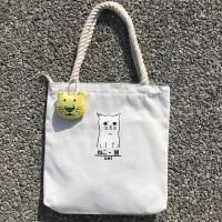 韩版ins帆布包女单肩韩国简约百搭手提包购物袋小清新学生包 白色 麻绳小猫