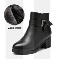 妈妈短靴女冬季真羊毛平底加绒保暖皮鞋粗跟中老年靴子老人棉鞋女SN6526