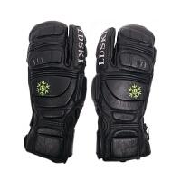 LDSKI滑雪手套耐磨防水纯皮三指闷子男女内分指单板双板保暖手套 纯皮抗冲击黑色 M
