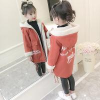女童秋冬装外套2018新款大童洋气加厚风衣儿童冬季加绒中长款潮衣