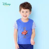 迪士尼Disney童装男童T恤夏季宝宝肩开短袖卡通印花纯棉上衣162S799