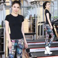 新款速干健身房女士跑步�\�语@瘦瑜珈衣印花跳操套�b高��瑜伽服套�b女