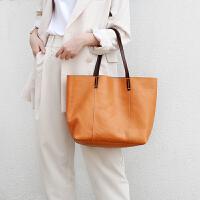 包包女2019新款时尚牛皮包撞色真皮大容量单肩手提包大包