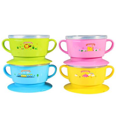 儿童餐具宝宝碗勺套装不锈钢婴儿吸盘碗防烫防摔辅食碗卡通5ib