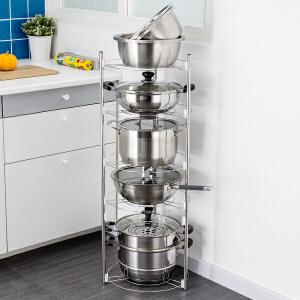 【满减】ORZ 不锈钢五层圆形锅架 厨房置物架转角架放锅架子落地多层