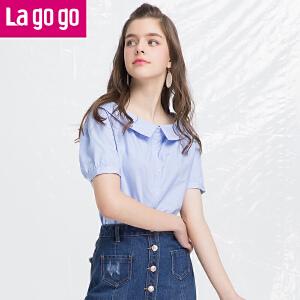 Lagogo/拉谷谷2018年夏季新款时尚娃娃领灯笼袖衬衫HACC223C18