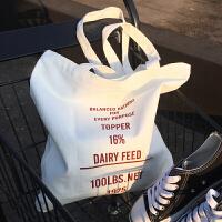 韩国简约字母原创小清新帆布袋女包文艺环保购物袋单肩学生帆布包