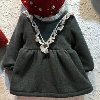 童装女童连衣裙秋冬装韩版小儿童长袖加绒加厚公主裙舞蹈宝宝裙子yly, 灰色