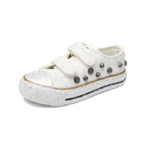 比比我儿童鞋新款女童鞋春秋帆布鞋中大童鞋魔术贴布鞋儿童韩版休闲板鞋潮