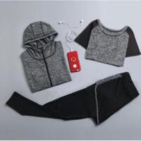 瑜伽服健身房运动套装女2018秋冬新款跑步速干衣网红健身服五件套 2X
