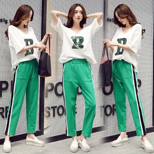 运动套装女夏2018新款韩版bf时尚休闲夏装学生省心搭配女装两件套