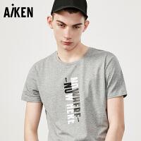 森马旗下aiken/爱肯短袖T恤男士夏装新款黑色字母圆领半袖体恤男潮流
