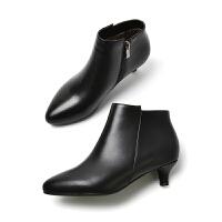 头层牛皮小跟短靴女工作靴短筒细跟3cm低跟矮高跟鞋大码女鞋41-43SN6366