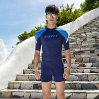 2018男士泳衣套装分体短袖防晒游泳上衣海边冲浪男泳装