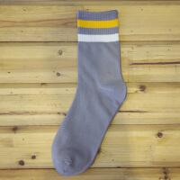 袜子男士秋冬袜中筒运动袜日韩潮双条纹商务袜男袜 均码