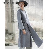 【大牌日,双11提前购】JII AMII2018秋冬装新款100%羊毛长款呢子大衣女绑带双面呢外套