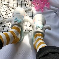 韩版棉拖鞋女秋冬季可爱蝴蝶结居家拖鞋卡通小狗防滑毛绒棉拖鞋