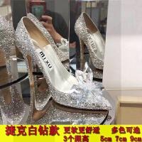灰姑娘水钻婚鞋新娘鞋婚纱照高跟鞋女单鞋伴娘秋鞋新款网红水晶鞋SN0229