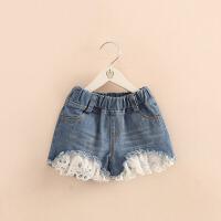 女童牛仔短裤夏新款夏季韩版宝宝儿童蕾丝热裤公主时尚裤子薄