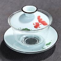 陶瓷手绘盖碗 耐热玻璃三才碗功夫茶具茶碗敬茶杯茶道泡茶器