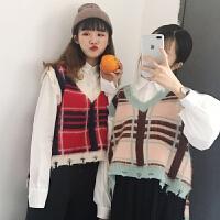 春装新款韩版甜美百搭宽松撞色格子撕破边V领无袖针织马甲女学生
