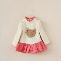 女童加厚卫衣秋款新品韩版童装儿童皇冠小鸡蛋糕裙摆空气棉卫衣裙