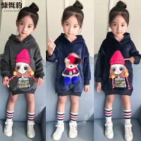 韩版女童卫衣加绒加厚中长款秋冬装儿童外套卡通金丝绒保暖上衣潮