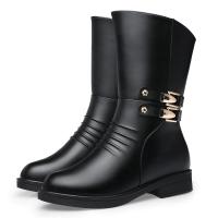 靴子女中筒靴平跟平底中年女靴真皮棉靴冬季大码短靴妈妈棉鞋加真皮 黑色