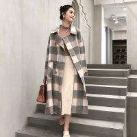 仿双面羊绒大衣女中长款2018新款流行格子赫本风韩版羊毛呢子外套冬