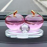汽车香水座摆件饰品空瓶创意水晶车载香水座式除异味车内车里苹果
