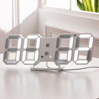 夜光电子挂钟客厅个性创意时尚装饰镂空3D立体数字led挂式闹钟表 其他