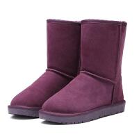 高筒雪地靴女冬季中筒保暖棉鞋加厚绒高帮长筒靴真皮大码女鞋情侣SN5985