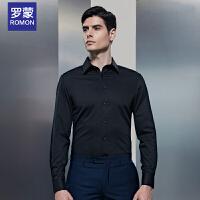 罗蒙(ROMON)衬衫男2018春夏新款商务男士正装黑色全棉免烫上装