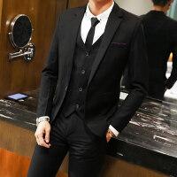 西装套装男韩版潮帅气青年夜场小西服休闲外套结婚男士三件套xx