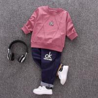 男童婴幼儿春装0-1-2-3-4岁男宝宝春秋外套装婴儿童装衣服两件套 紫色 长袖OK