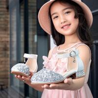 女童凉鞋女孩韩版走秀水晶儿童高跟鞋公主鞋小主持礼服演出鞋单鞋