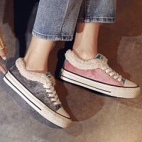 休闲鞋 女士冬季时尚韩版棉鞋2020新款拼色女鞋低帮反绒女式棉鞋女鞋子