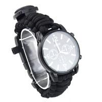 指南针手表 多功能求生生存工具包套装户外登山徒步骑行探险装备男士运动指南针逃生表 黑色