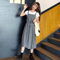 夏装女装韩版学院风中长款宽松显瘦格子无袖吊带裙连衣裙长裙+T恤 灰色 均码