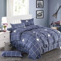 ???简约床上用品冬被子被芯带枕芯床单被套纯棉四件套被褥全套1.8m夏 深灰色 筚路蓝缕送午休毯