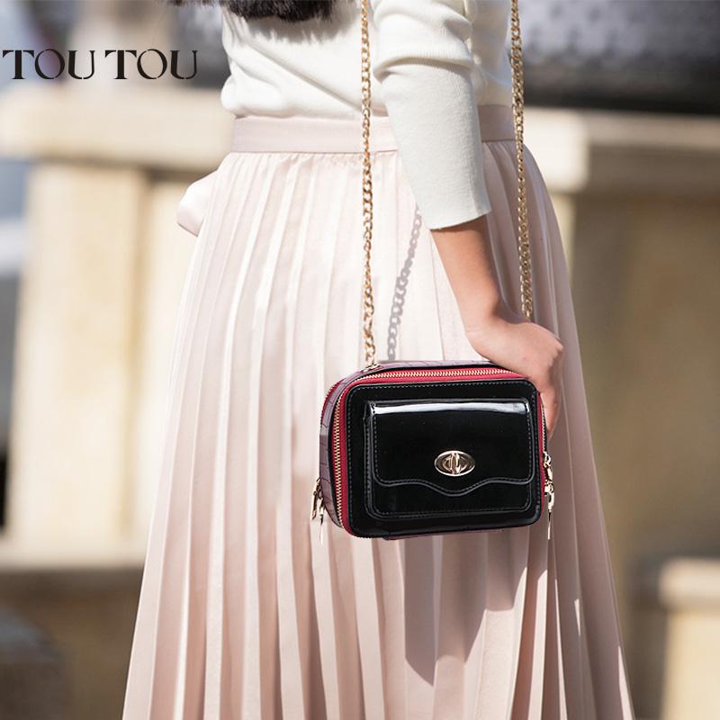 toutou2017新款韩版女包斜挎包时尚漆皮双隔层链条包单肩小方包潮品质感十足 双面隔层 小身材大容量