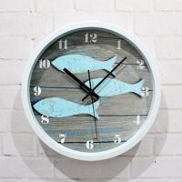 时尚欧式挂钟客厅静音现代创意艺术壁钟时钟石英钟表破旧甲板小鱼 地中海.小鱼 12英寸