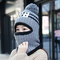 韩版加绒骑车毛线帽子潮女可爱百搭冬季护耳时尚冬天保暖围脖一体 M(56-58cm)