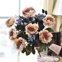 仿真花束欧式紫冠牡丹假花绢花装饰花客厅摆设仿真花卉 单束